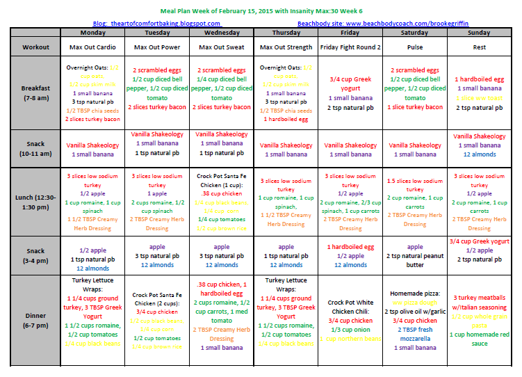 insanity max 30 meal plan week of february 16 2015 simply clean