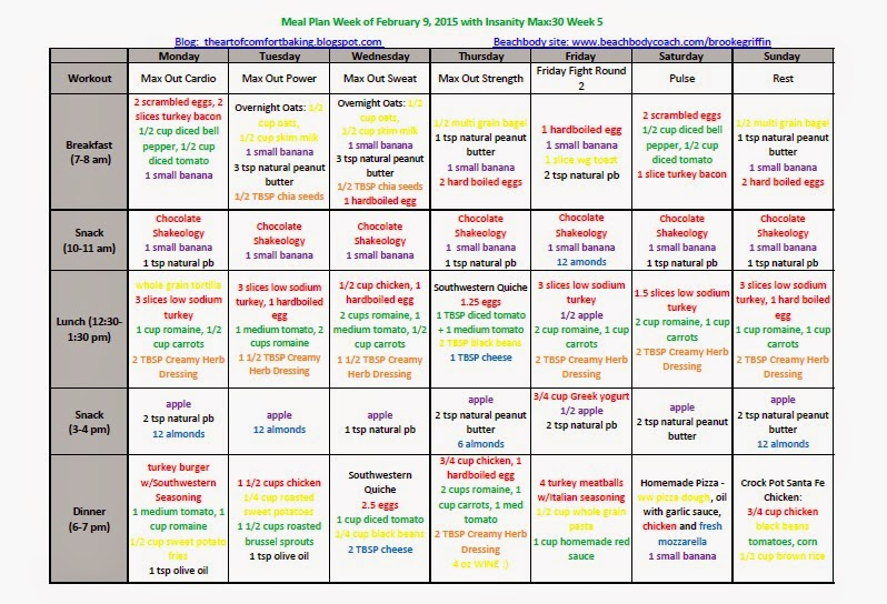 Insanity Max:30 Meal Plan: Week of February 9th, 2015 - Simply Clean
