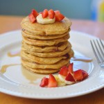 Whole Wheat Strawberry Banana Pancakes