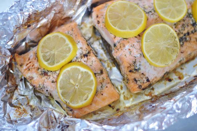 roasted salmon with lemon