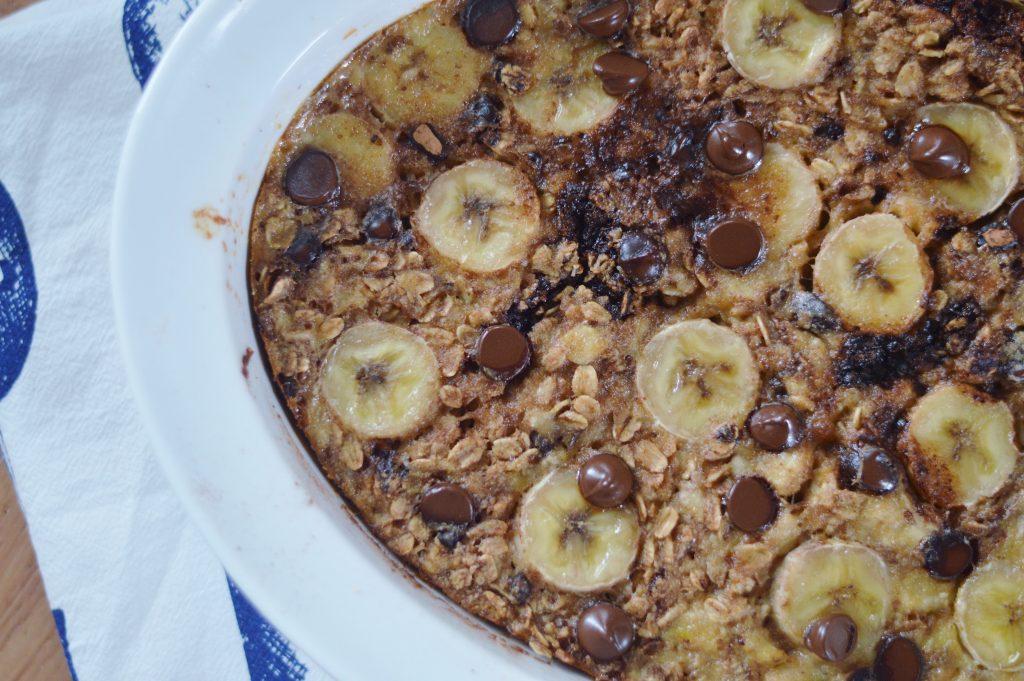 chocolate peanut butter banana baked oatmeal