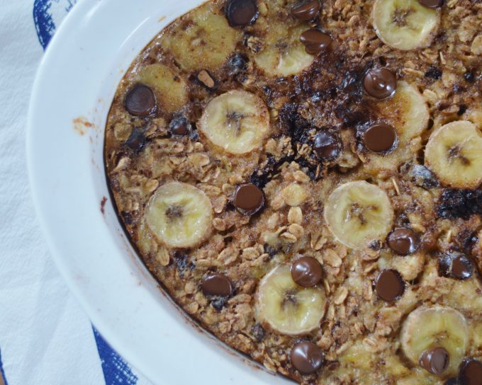 chocolate peanut butter banana baked oatmeal